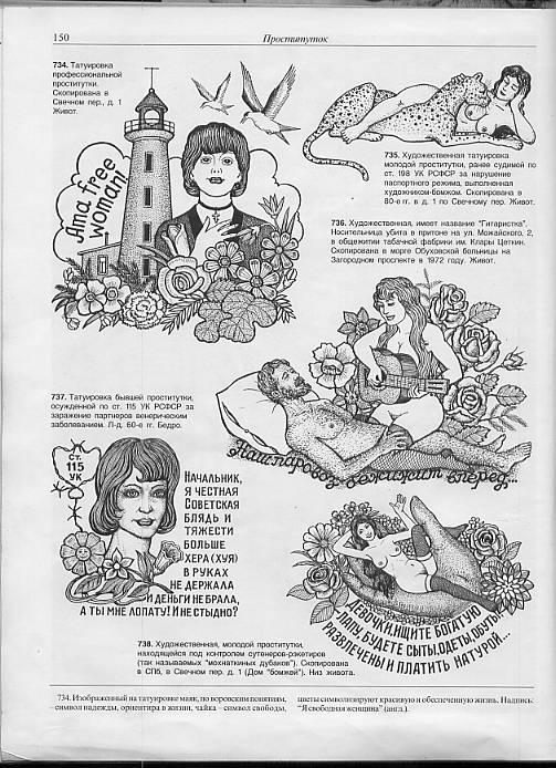Татуировки заключенных порнографические